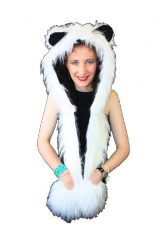 Neon UV White Fluffy Fur Scarf/Hood With Ears.