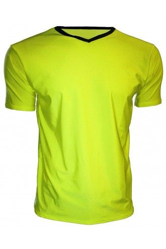 Men's Yellow Neon Lycra Stretchy V-Neck TShirt Top Party Club Rave