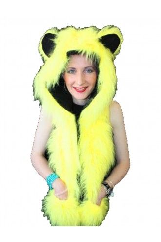 Neon UV Yellow Fluffy Fur Scarf/Hood With Ears.