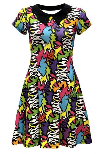 Zig Zag Waves Geometric Abstract Trippy Rockabilly Printed Collar Dress