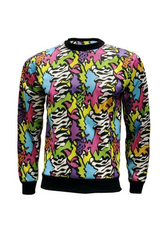 Unisex Zig Zag Waves Geometric Abstract Trippy Fleece Printed Crew Neck Sweatshirt Jumper