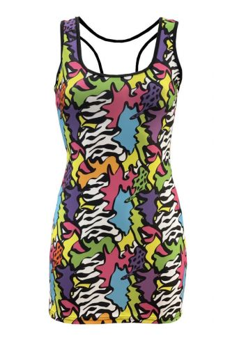 Zig Zag Waves Geometric Abstract Trippy Rockabilly Printed Bodycon Long Vest Top