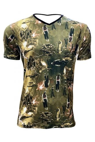 Zombies Blood Outbreak Cars Helicopter Ghoul Flash Printed V-Neck T-shirt Tee Top