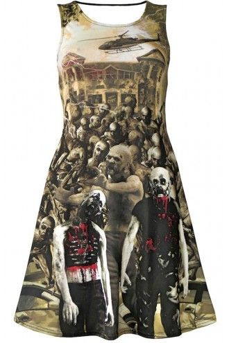 Zombies Blood Outbreak Cars Helicopter Flash Skater Dress