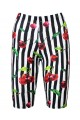 Cherry Tart Monochrome Striped Vintage Retro Print Cycle Shorts