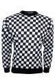 Designer Monochrome Chequered Chess Board Printed Sweatshirt Jumper Top