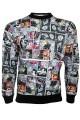 Comic Strip Book Retro Classic Print Crew Neck Designer Sweatshirt Jumper Top