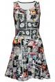 Comic Strip Book Retro Vintage Classic Print Sleeveless Skater Dress