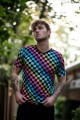 Rainbow Coloured Check Squares Printed V-Neck T-Shirt Top