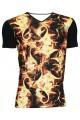 Men's Hot Fire Flames Print Unique V-Neck T-Shirt Tee