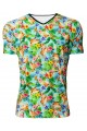 Tropical Flamingo Hawaiian Floral Retro Vintage Printed V-Neck TShirt Tee Top