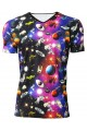 Travelling Through Space Galaxy Space Ship Planets Printed V-Neck TShirt Tee Top