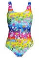Multi Sea Animals Dolphins Coral Turtles Fish Sharks Floral All Over Printed Swimsuit Bodysuit