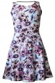Cute Kitty Cat With Paw Glasses Bow Alternative Printed Skater Dress