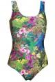 Tropical Floral Flowers Leaves Leopard Skin Animal Print Swimsuit Bodysuit