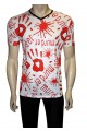 Men's White Bloody Murder Print Blood Splatter V-Neck T-Shirt Tee