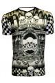 Designer Monochrome Chequer Flames Skulls Snakes Men's V Neck T-Shirt Top Tee