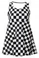 Girl's Children's Monochrome Chequered Chess Board Printed Sleeveless Skater Dress