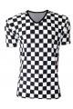 Men's Black And White Check Chequer Print V-Neck TShirt Tee Top