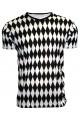 Men's Black And White Diamonds Print V-Neck TShirt Tee Top
