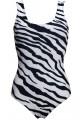 Classic Monochrome Zebra Printed Swimsuit Bodysuit