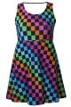 Girl's Children's Rainbow Coloured Check Squares Printed Sleeveless Skater Dress