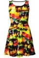 Los Angeles Beach Colourful Exotic Palm Trees Sunset Print Sleeveless Skater Dress
