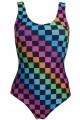 Rainbow Coloured Check Squares Printed Swimsuit Bodysuit