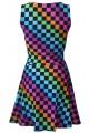 Rainbow Coloured Check Squares Printed Skater Dress