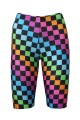 Rainbow Coloured Check Squares Printed Cycle Shorts