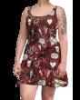 Bats Moon Stars Pentagram Broken Heart Coffin Printed Skater Dress