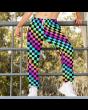 Unisex Rainbow Coloured Check Squares Fleece Printed Sweatpants Jogging Bottom