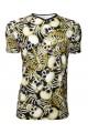 Graveyard Of Bones Skeleton Skull Ribcage All Over Alternative Print V-Neck T-Shirt Top