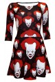 Scary Killer Clown Joker Evil Horror Halloween Print 3/4 Sleeve Skater Dress