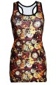 Traditional Steampunk Machine Mechanical Cogs Clocks All Over Print Long Vest Top