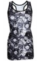 Monochrome Traditional Steampunk Machine Mechanical Cogs Clocks All Over Print Long Vest Top