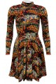 Traditional African Wild Animal Velvet Velour High Neck Dress