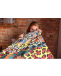 Traditional African Wild Animal Digital Print Check Flames Throw Blanket