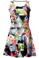 Tropical Floral Palm Leaves Triangle Geometric Polka Dot Marble Printed Skater Dress
