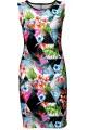 Tropical Floral Palm Leaves Triangle Geometric Polka Dot Marble Print Midi Bodycon Dress