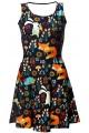 Fox, Rabbit And Hedgehog Animal Nature Print Fit & Flared Sleeveless Skater Dress