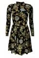 Vintage Gold Baroque Damask Paisley Monochrome Harlequin Velvet Velour High Neck Dress