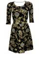 Vintage Gold Baroque Damask Paisley Monochrome Harlequin Velvet Velour Dress