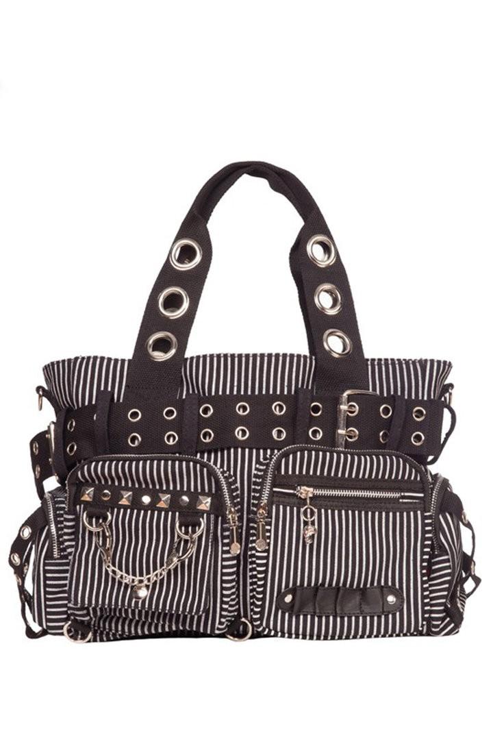 Striped Gothic Handcuffs Shoulder Handbag Hand Bag