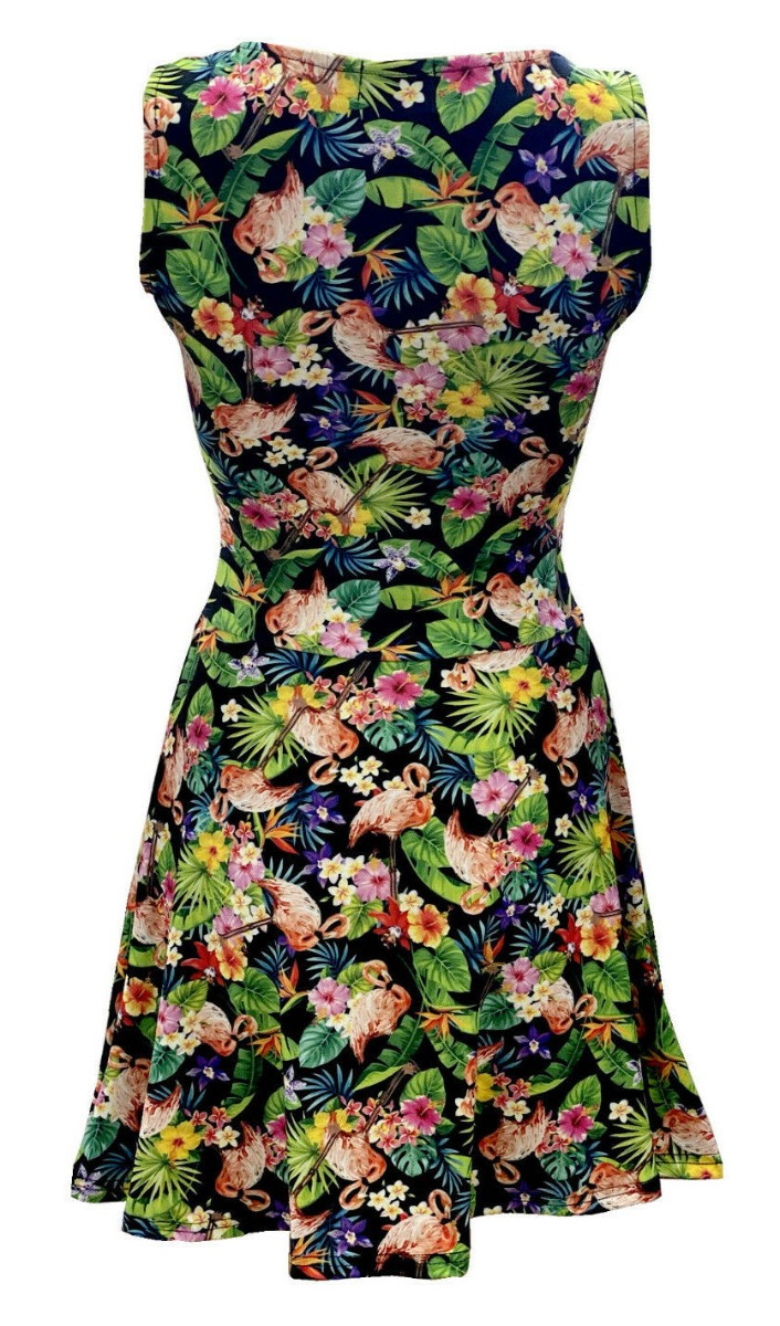Tropical Flowers Floral Flamingo Printed Skater Dress