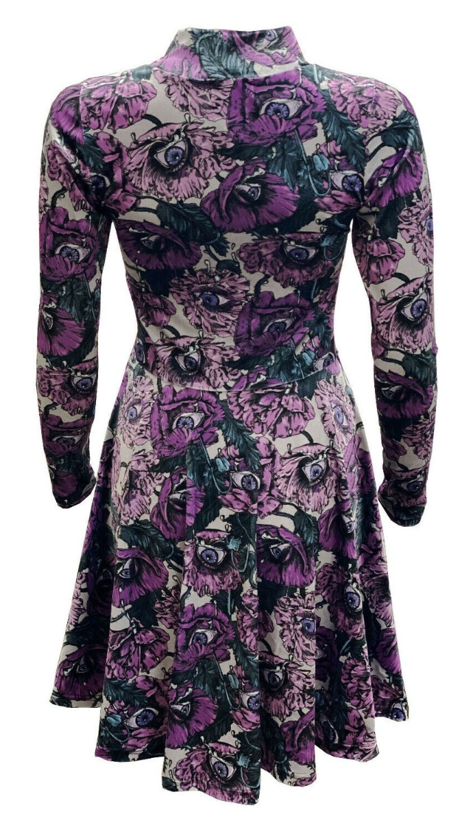 Flowers Floral Eyes Bloom Vintage Rockabilly Printed Velvet Velour High Neck Dress