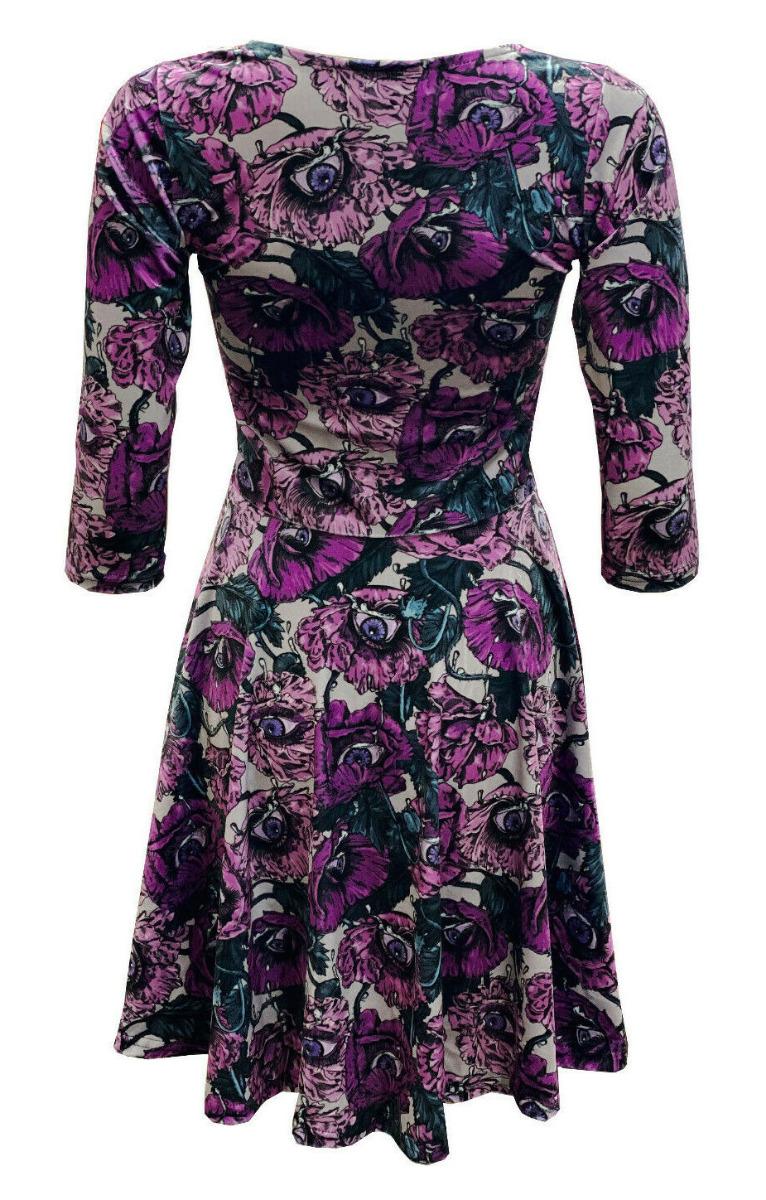 Flowers Floral Eyes Bloom Vintage Rockabilly Printed Velvet Velour Dress