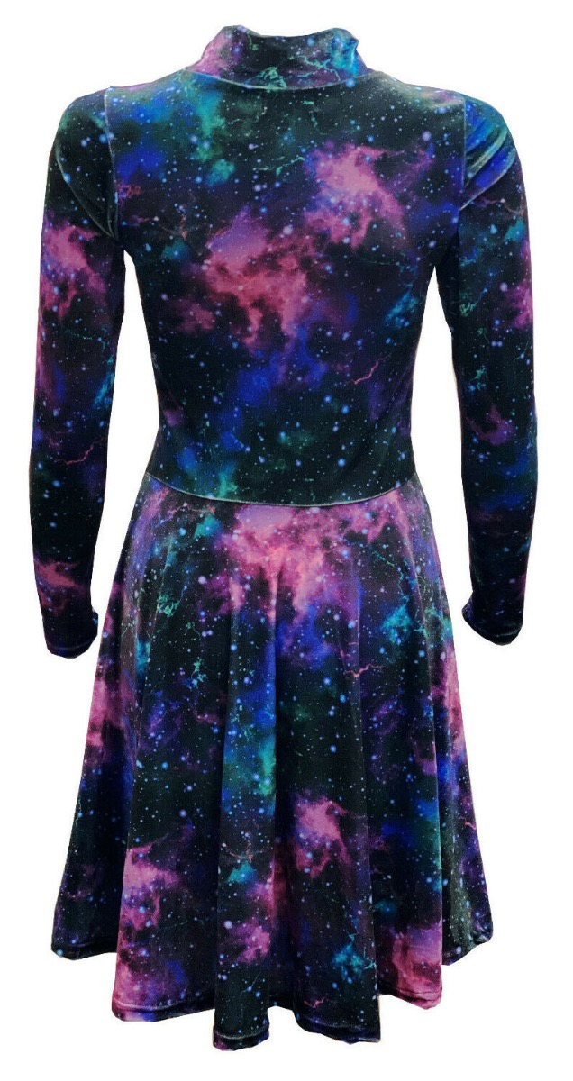 Galaxy Space Universe Stars Cosmos Planets Printed Velvet Velour High Neck Dress