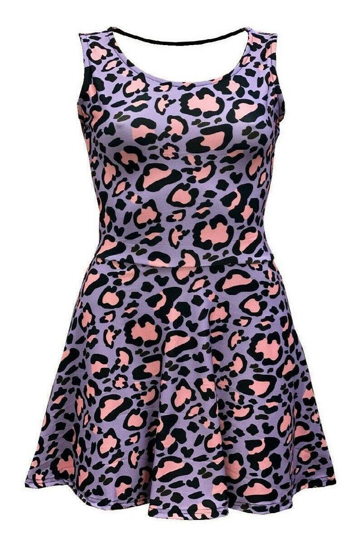 Girl's Gorgeous Pink Purple Leopard Animal Skin All Over Printed Sleeveless Skater Dress