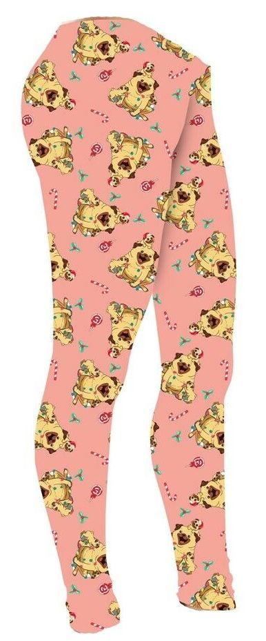 Girls Cute Santa Christmas Candy Cane Pug Puppies Baby Pink Printed Leggings